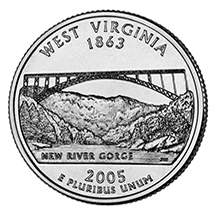 West Virginia State Quarter - Back